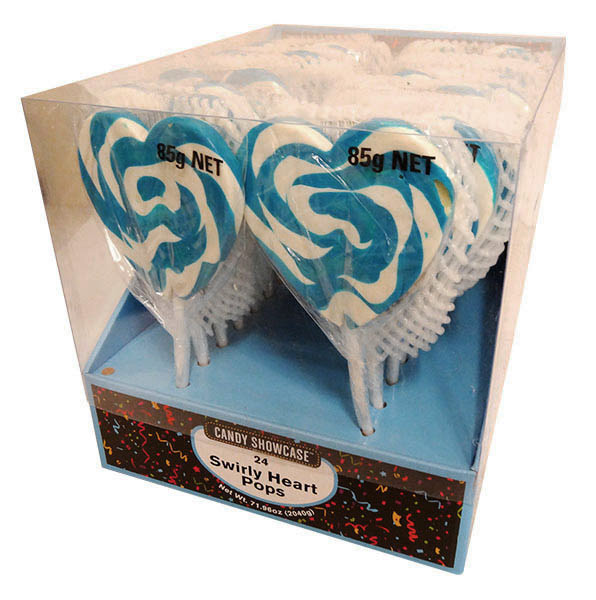 Candy Showcase Mega Swirl Heart Pops - Blue and more Confectionery at The Professors Online Lolly Shop. (Image Number :13097)