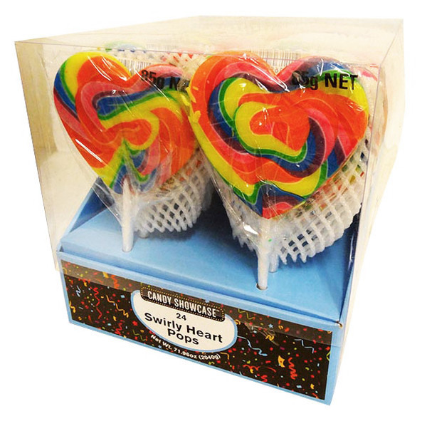 Candy Showcase Mega Swirl Heart Pops - Rainbow, by Other,  and more Confectionery at The Professors Online Lolly Shop. (Image Number :13099)