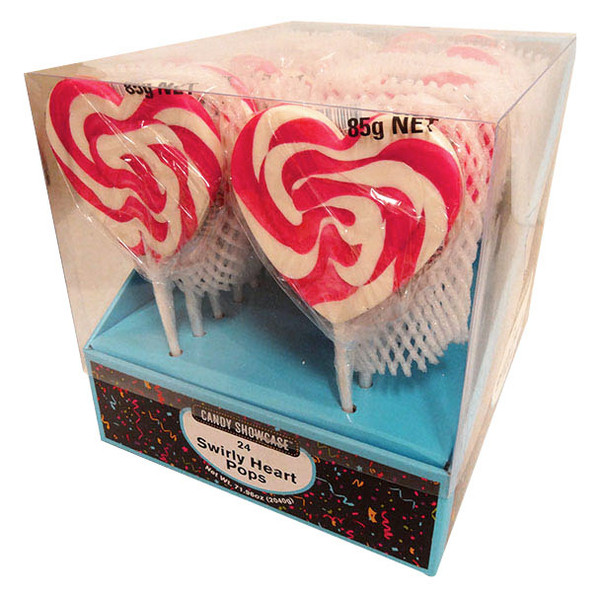 Candy Showcase Mega Swirl Heart Pops - Pink and more Confectionery at The Professors Online Lolly Shop. (Image Number :13098)