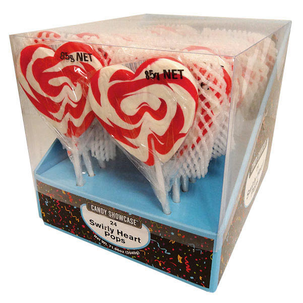 Candy Showcase Mega Swirl Heart Pops - Red and more Confectionery at The Professors Online Lolly Shop. (Image Number :13100)
