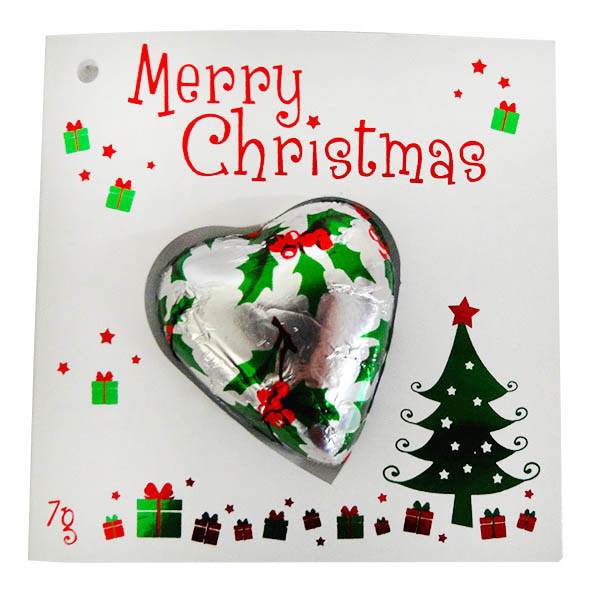 Chocolate Gems - Merry Christmas Card with Holly Heart Chocolate, by Chocolate Gems,  and more Confectionery at The Professors Online Lolly Shop. (Image Number :13121)