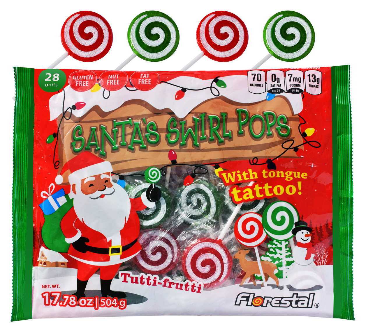 Santa Swirl Pop with Tongue Tattoo and more Confectionery at The Professors Online Lolly Shop. (Image Number :13328)