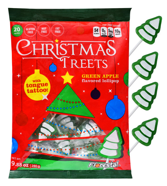 Christmas Tree Lollipops with Tongue Tattoo and more Confectionery at The Professors Online Lolly Shop. (Image Number :13327)