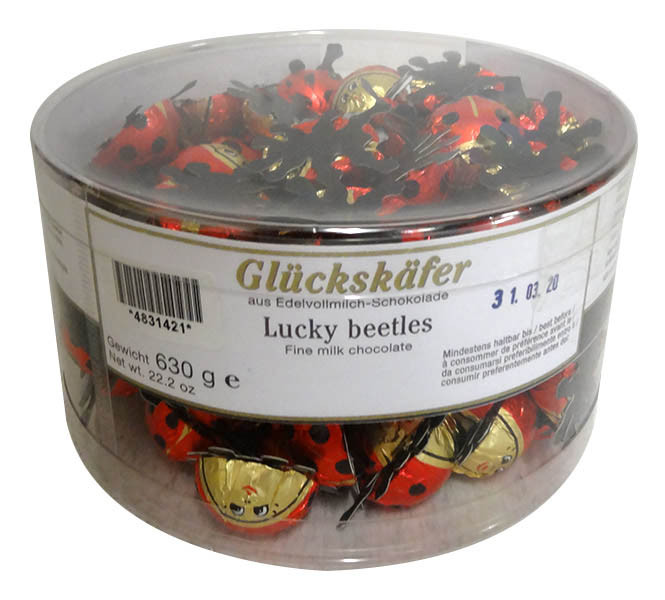 Baur Ladybirds Red in Cylinder, by Baur Chocolat,  and more Confectionery at The Professors Online Lolly Shop. (Image Number :13590)