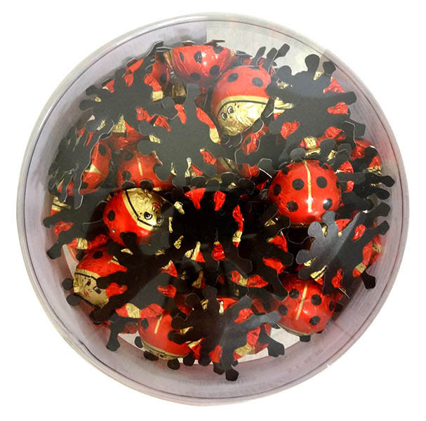 Baur Ladybirds Red in Cylinder, by Baur Chocolat,  and more Confectionery at The Professors Online Lolly Shop. (Image Number :13591)