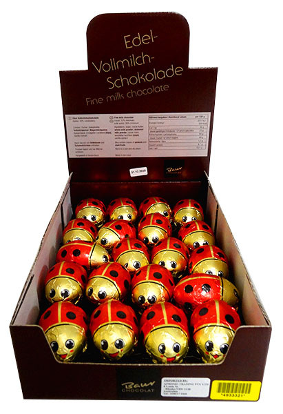 Baur Ladybirds Red Hollow Milk Chocolate, by Baur Chocolat,  and more Confectionery at The Professors Online Lolly Shop. (Image Number :13780)