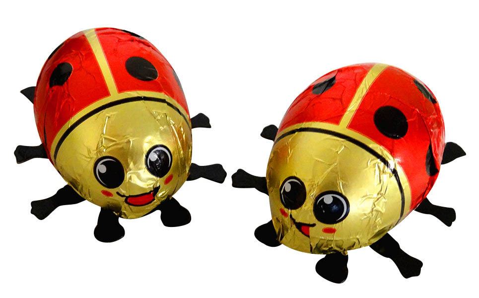 Baur Ladybirds Red Hollow Milk Chocolate, by Baur Chocolat,  and more Confectionery at The Professors Online Lolly Shop. (Image Number :13782)