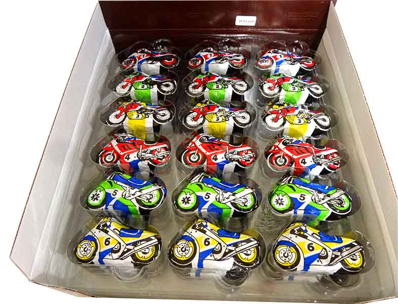 Baur Motorbikes  Milk Chocolate, by Baur Chocolat,  and more Confectionery at The Professors Online Lolly Shop. (Image Number :13784)