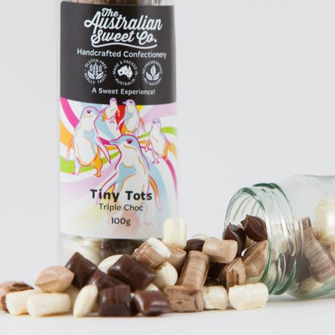 Tiny Tots - Triple Chocolate Rock, by The Australian Sweet Company,  and more Confectionery at The Professors Online Lolly Shop. (Image Number :13348)