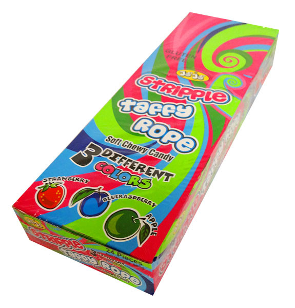 Jo Jo Stripple Taffy Rope - Multicolour and more Confectionery at The Professors Online Lolly Shop. (Image Number :13972)