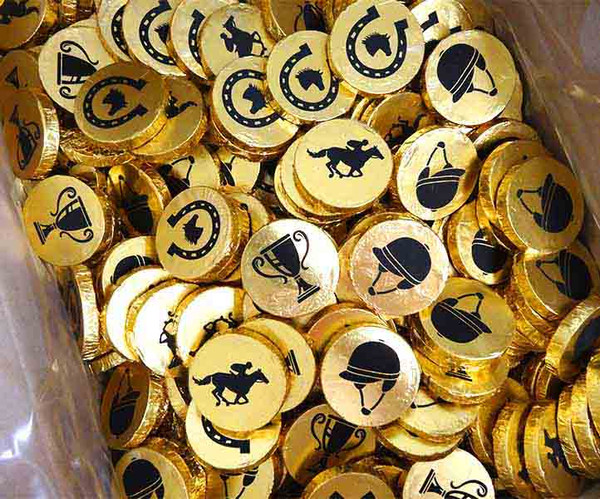 Chocolate Gems Melbourne Cup Medallions, by Chocolate Gems,  and more Confectionery at The Professors Online Lolly Shop. (Image Number :13931)