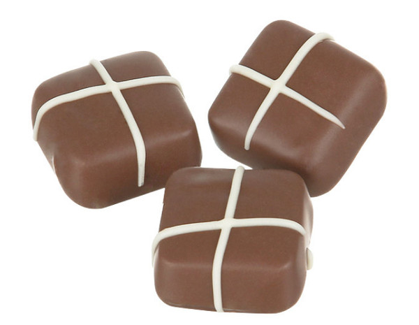 Chocolatier - Sweet & Sour Hot Cross Bun chocolates - Approx 48 Pieces and more Confectionery at The Professors Online Lolly Shop. (Image Number :14095)