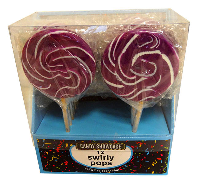Candy showcase Swirly lollipops  - Purple and White, by Lolliland,  and more Confectionery at The Professors Online Lolly Shop. (Image Number :13806)