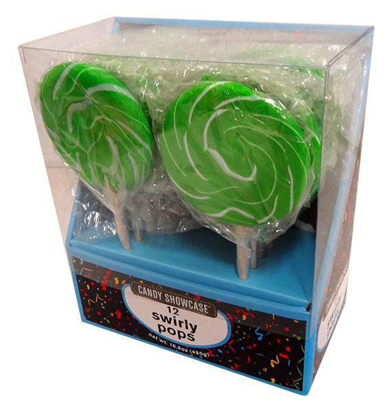 Candy showcase Swirly lollipops  - Green and White, by Lolliland,  and more Confectionery at The Professors Online Lolly Shop. (Image Number :13804)