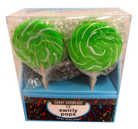 Candy showcase Spiral lollipops  - Green and White (10 x 50g pops in a box)