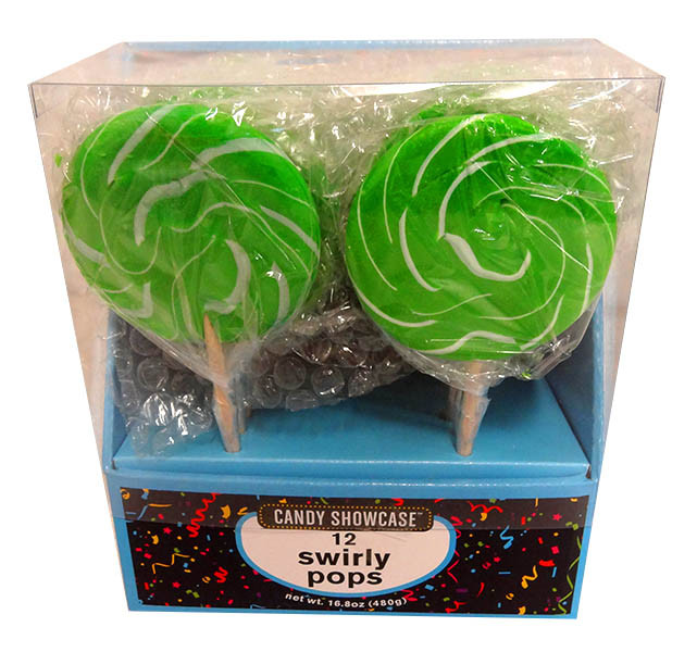 Candy showcase Swirly lollipops  - Green and White, by Lolliland,  and more Confectionery at The Professors Online Lolly Shop. (Image Number :13805)