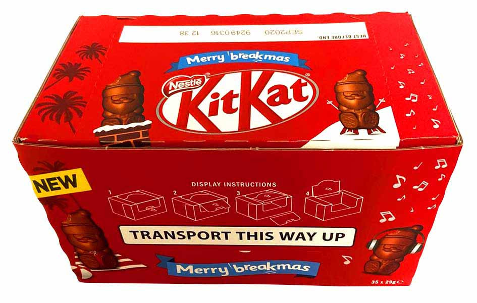 Kit Kat Santas, by Mars,  and more Confectionery at The Professors Online Lolly Shop. (Image Number :13529)