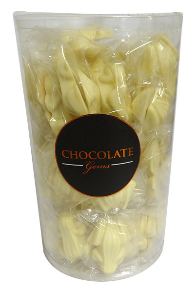 Chocolate Gems XL Barrel - White Chocolate Frogs - Flow Wrapped, by Everfresh Confectionery/Other,  and more Confectionery at The Professors Online Lolly Shop. (Image Number :14105)