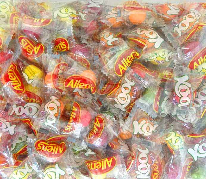 Allens Kool Fruits - 1kg bag of Wrapped individual mints, by Allens Confectionery,  and more Confectionery at The Professors Online Lolly Shop. (Image Number :13771)