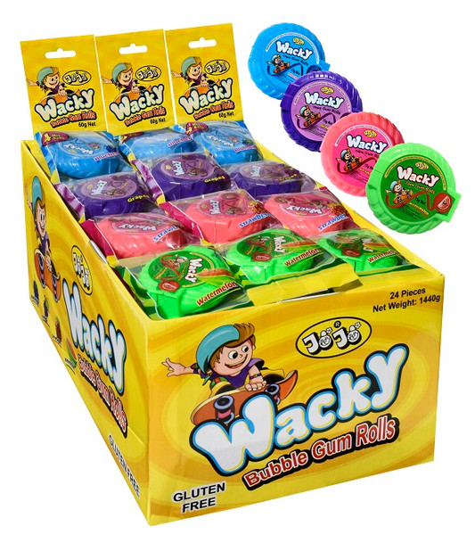 Wacky Bubble gum Rolls - 4 assorted flavoured rolls in 1 pack and more Confectionery at The Professors Online Lolly Shop. (Image Number :14506)