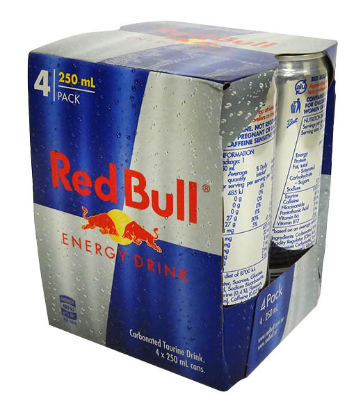 Red Bull Energy Drink - 4 pack and more Beverages at The Professors Online Lolly Shop. (Image Number :14629)