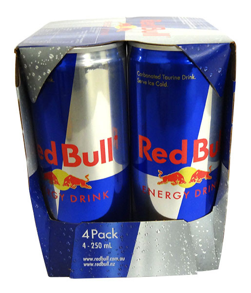 Red Bull Energy Drink - 4 pack and more Beverages at The Professors Online Lolly Shop. (Image Number :14630)