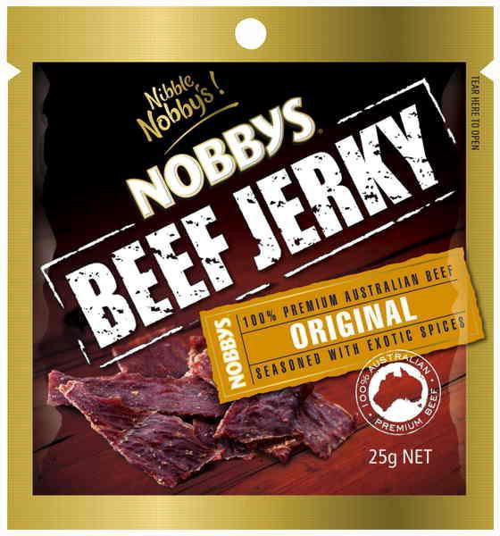 Nobbys Beef Jerky Original and more Snack Foods at The Professors Online Lolly Shop. (Image Number :14719)
