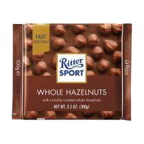 Ritter Sport Milk Whole Hazelnut Bars and more Confectionery at The Professors Online Lolly Shop. (Image Number :14691)