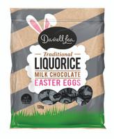 Darrell Lea Milk Chocolate Liquorice Foiled Eggs ( 120g bag)