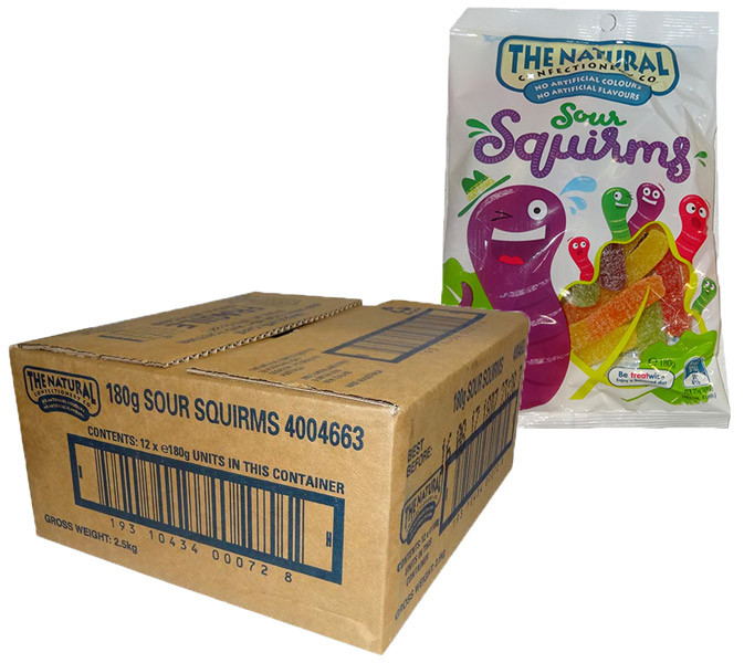 The Natural Confectionery Co. - Sour Squirms - Special - BB 15/10/20, by The Natural Confectionery Co.,  and more Confectionery at The Professors Online Lolly Shop. (Image Number :14914)