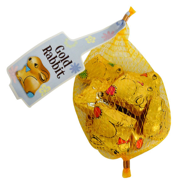Gold Easter Bunny s Net - Milk Chocolate and more Confectionery at The Professors Online Lolly Shop. (Image Number :14948)
