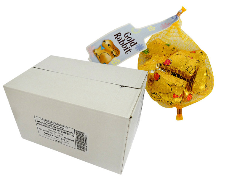Gold Easter Bunny s Net - Milk Chocolate and more Confectionery at The Professors Online Lolly Shop. (Image Number :14950)
