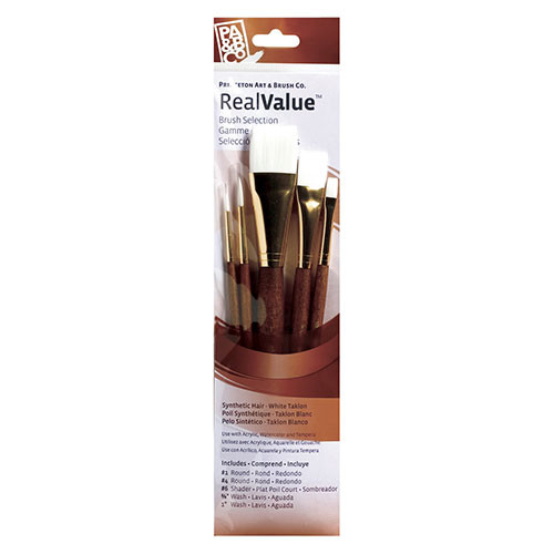 Watercolor, Acrylic and Tempera White Taklon Brush Set 9144