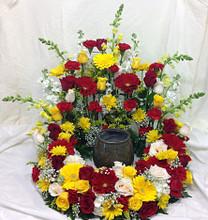 Bright Wreath Cremains Surround Arrangement