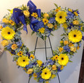 Blue, white and yellow open standing heart.