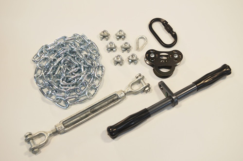 "Kit contains: * ZLP Raptor Trolley * 14"" Solid Straight Bar * Steel Locking Carabiner * 1/2"" x 6"" Turnbuckle * 6' Chain Sling * 6 3/16"" Cable Clamps * 3/16"" Thimble * 150 Lb weight limit * Installation Tips Guide"