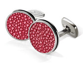Red Stingray Bordered Round Cufflink
