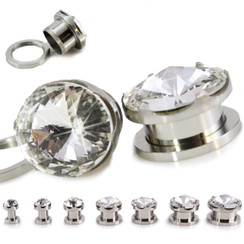 "CZ Gem Plug 316L Stainless Steel Screw Back Plug Pair Prong Set 5.2mm - 14mm (4G - 9/16"")"