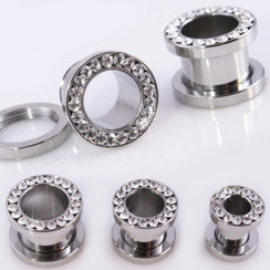 Pair Clear CZ Gem Tunnels Screw Back 316L Stainless Steel Gauges