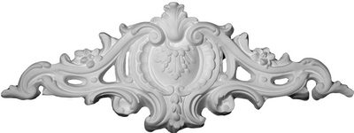 Acanthus leaf and emblem wall applique | Cast Plaster