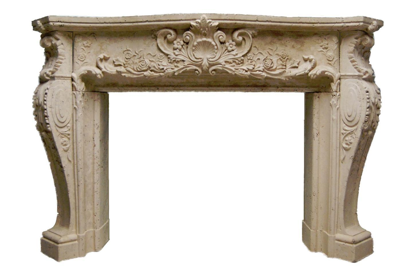 Ornate Travertine Look Fireplace Mantel | Louis | Frence