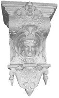 Decoratively ornamented corbel with the face of a Lady