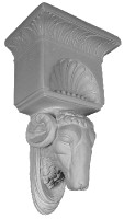 Decoratively ornamented corbel with a ram's head
