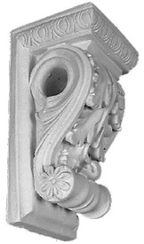 This standard size acanthus corbel is also a drapery bracket - cast plaster