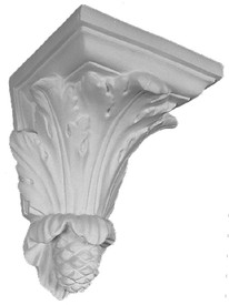 Scrolling acanthus leaves sitting atop a pine cone are featured on this corbel bracket