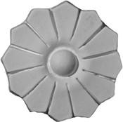 Applique- Round Rosette featuring simple petal pattern in cast plaster
