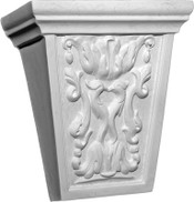 This medium height corbel bracket features a Classic Keystone with acanthus leaf and a pair of doves