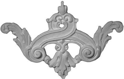 Applique with acanthus leaves and scrolls, a floral fleur de lis in cast plaster - Applique CRA119