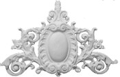 Applique CRA17 - Cast Plaster Oval Shield surrounded by ornate acanthus leaves