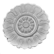 Small cast plaster applique CRA42 featuring a stylized flower